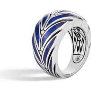 John Hardy Blue Enamel Classic Chain Silver Ring